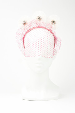 PRESLEY - White & Pink Veil Velvet Headband with Fringe Discs by Angela Menz Millinery