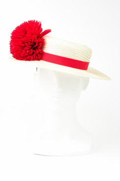 Cream Straw Boater with Red Ribbon & Flower Trim by Angela Menz Millinery