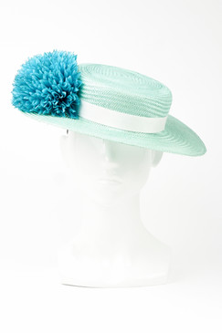 Aqua Straw Boater with Aqua Ribbon & Flower Trim by Angela Menz Millinery
