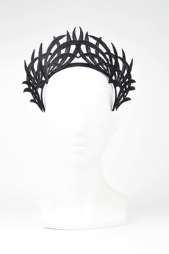Max Alexander Lace Crown Fascinator Black