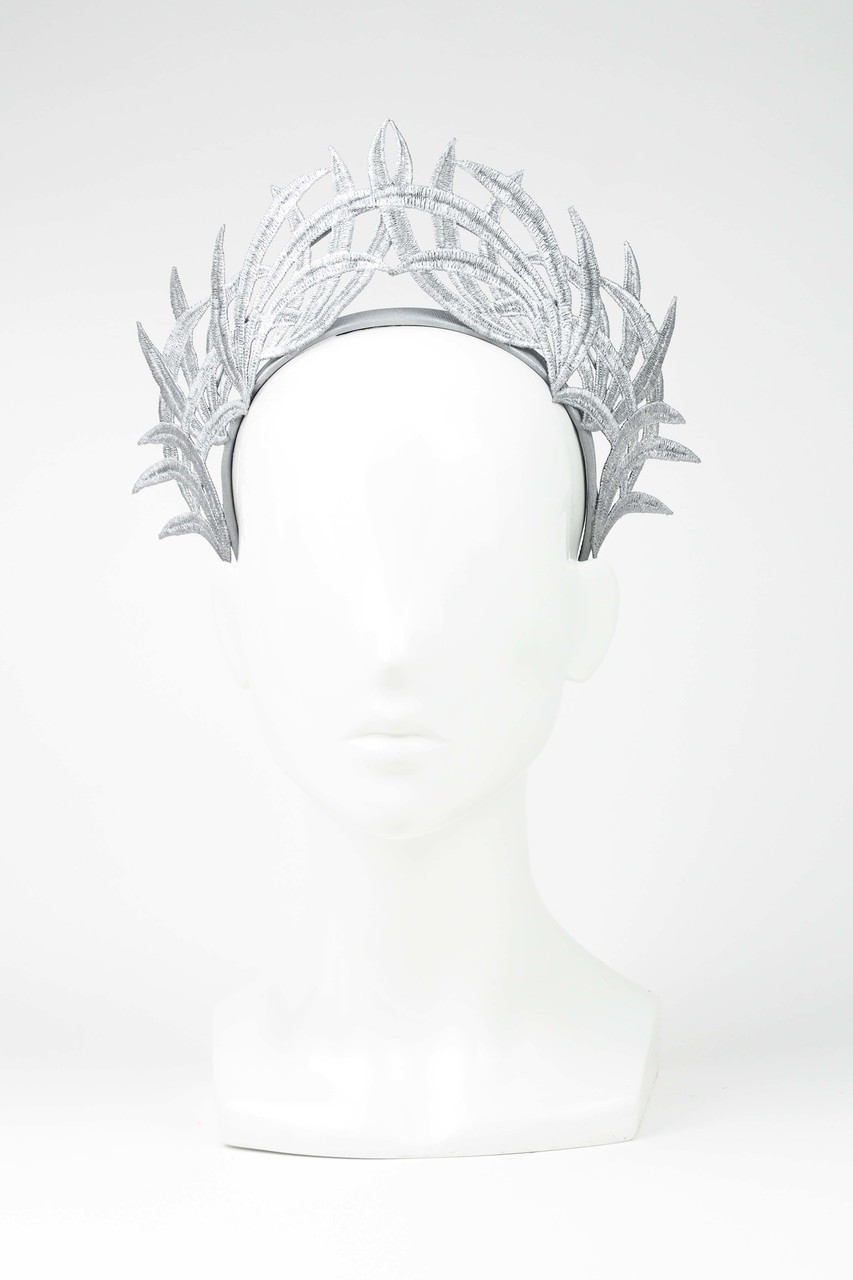 Max Alexander Silver Lace Crown Fascinator Grey - The Eternal Headonist eec7f0c2832