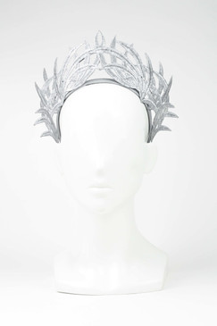 Max Alexander Silver Lace Crown Fascinator Grey