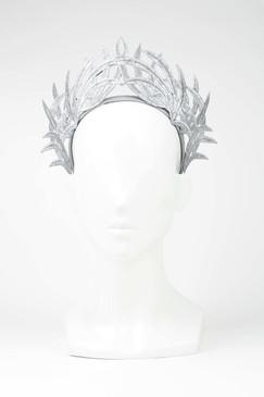 Max Alexander Silver Lace Crown Fascinator Grey