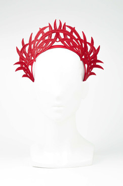Max Alexander Lace Crown Fascinator Red