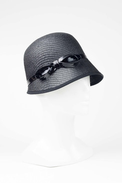 Max Alexander Straw Cloche Hat Black