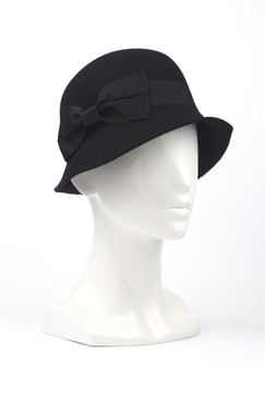 Morgan & Taylor Felt Cloche with Grosgrain Ribbon Trim