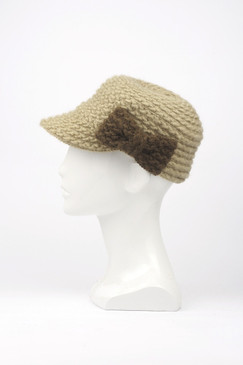 Morgan & Taylor Knitted Peak Cap with Bow Trim in Tan & Latte