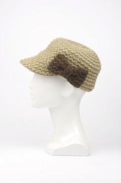 Morgan & Taylor Knitted Peak Cap with Bow Trim in Tan & Latte