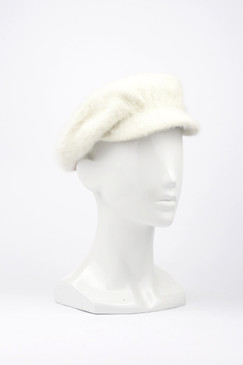 Morgan & Taylor Angora Peaked Cap in Cream