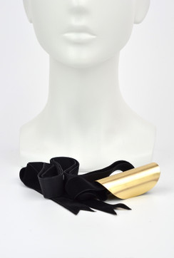 Angelina - Metal Pony Tail Cuff with Velvet Ribbon by Ford Millinery