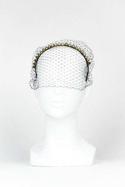 MIYAKI - Gold Spike Headband with Veil by Ford Millinery