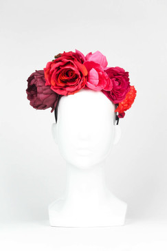 FRIDA - Red Fabric Flower Crown by Ford Millinery