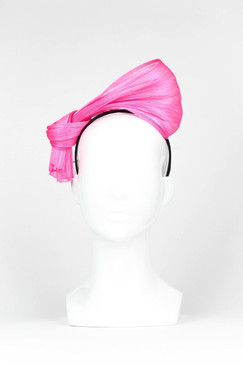 SILKS - Pink Silk Abaca Headpiece by Ford Millinery