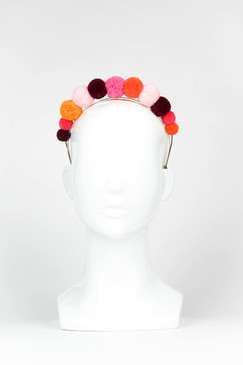 PINATA - Pink, Orange & Burgundy PomPom Headband by Ford Millinery