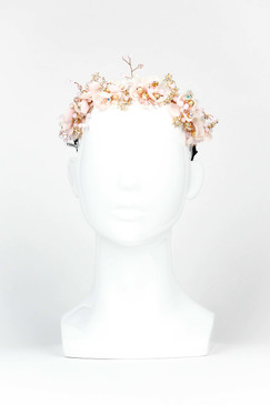 ARIEL - Pink, Gold & Gem Floral Headband by Ford Millinery