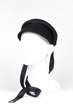 BONNIE - Black Polystraw Visor with Ties by Ford Millinery