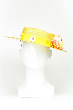 Bright Yellow Straw Boater with Flower Trim by Angela Menz