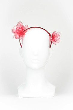 Pink and Red Acrylic Double Rose Headband by Angela Menz