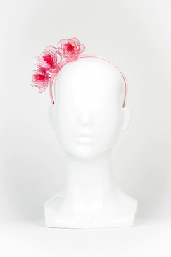 Pale Pink Acryllic Triple Rose Headband by Angela Menz
