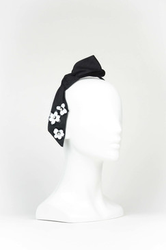 Black Silk Bow Headband with Sequins by Angela Menz