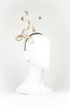 FLYING BOW - Gold Wired Bow Headband by Stephanie Spencer Millinery