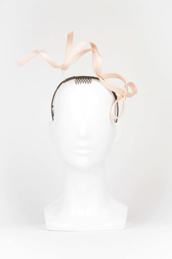FLYING BOW - Pale Pink Wired Bow Headband by Stephanie Spencer Millinery