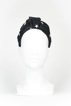 Lucky Stars - Black Satin Turban with Embroidered Stars by Suzy O'Rourke