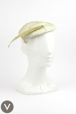 Vintage 1950s Champagne Coloured Cocktail Hat with Feather