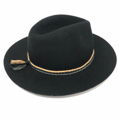 Black Felt Wool Fedora with Rope Trim by Ace of Something