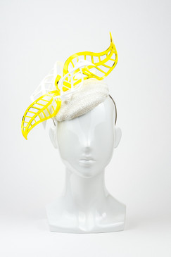 Honey Joy - White & Yellow Spring Racing Headpiece with White & Yellow Perspex Leaves by Rebecca Share