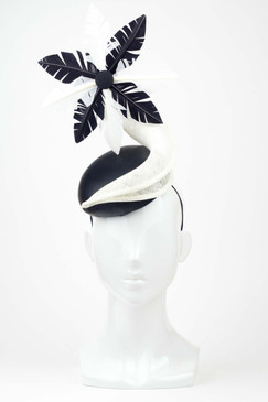 Maya - Black Leather Headpiece with Black & White Feather Trim by Lisa Tan Millinery