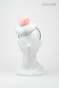 Jane - Silk Covered Button Beret with Pastel Ink Splat Print & Pink Marabou Feather Pom Pom by Lisa Tan Millinery