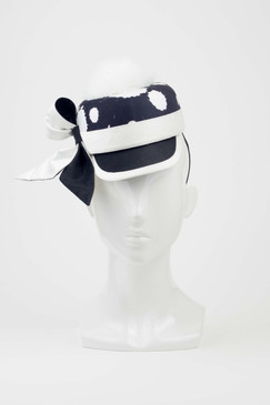 Dylan - Silk Covered Cap with Black & White Ink Splat Print & White Marabou Feather Pom Pom by Lisa Tan Millinery