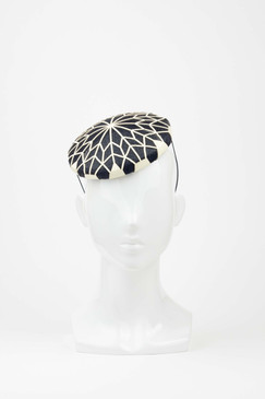 The Lily Bud -  Black & White Laser-cut  Leather Button Beret Headpiece by Studio ANISS