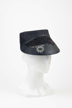 The Private - Silk Abaca Cap with Laser-cut Leather Peak by Studio ANISS