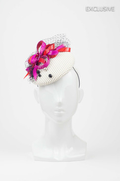 White Cocktail Hat with Pink & Red PVC Bow Trim by Natalie Bikicki