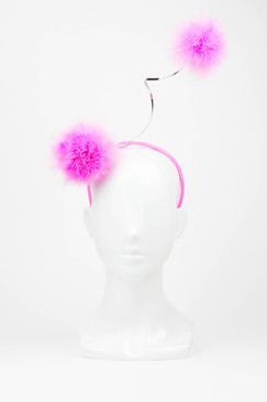 Hot Pink Marabou Pom Pom Feather Headband by Richard Nylon Millinery
