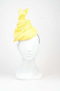Banana Yellow Straw Fascinator with Quill by Fiona Powell