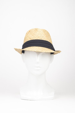 Raffia Straw Trilby Hat with Black Ribbon Band by Kazz