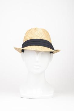 Raffia Straw Trilby Hat with Black Ribbon Band by Kazz