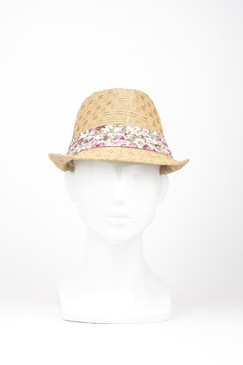 Straw Trilby Hat with Pink Floral Trim by Kazz