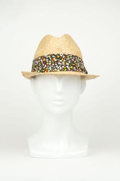 Straw Trilby Hat with Black Floral Trim by Kazz