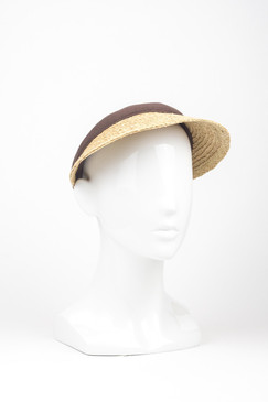 "Raffia Straw ""Susie"" Visor with Brown Trim by Morgan & Taylor"