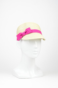 Soft Straw Jockey Cap with Hot Pink Trim by Morgan & Taylor