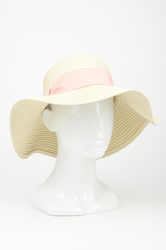 "Morgan & Taylor ""Whitney"" Floppy Hat with Coral Ribbon Trim"