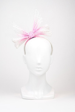 Ombre Pink & White bow with Veil Trim by Richard Nylon