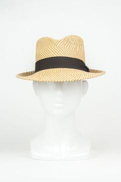 Herringbone (Medium Brim) Zig Zig Panama Straw Trilby by Truffaux