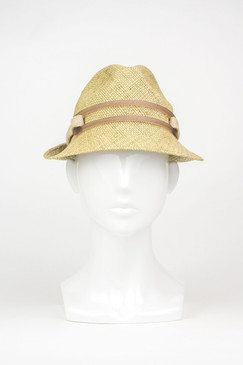 Brown Straw Downturn Trilby with Perspex Band by Keely Hunter Millinery