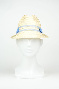 Palm Straw Downturn Trilby with Blue Perspex Band by Keely Hunter Millinery