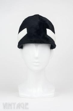 Vintage Schiaparelli 1960s Black & White Mod-Style Jockey Cap
